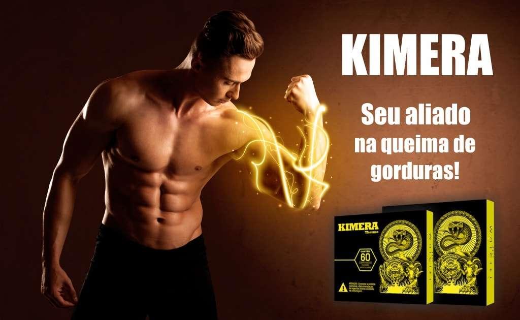"""homem Branco musculoso com raios no braço em alusão às vantagens de Kimera Thermo ao lado de texto que diz """"Kimera seu aliado na queima de gorduras""""."""