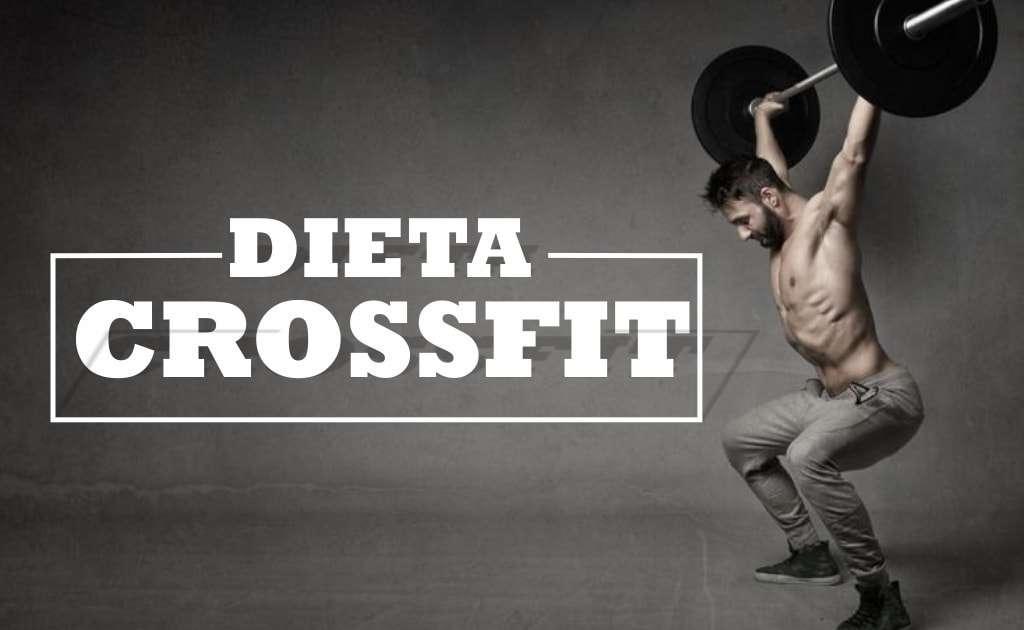 Homem carregando barra de peso com semblante de muita força. Texto descritivo com a frase dieta crossfit